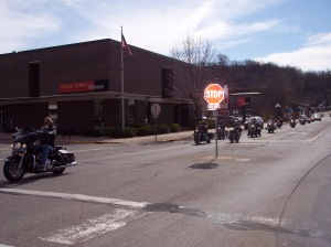 Bikers on their way to the Flood Run in Red Wing